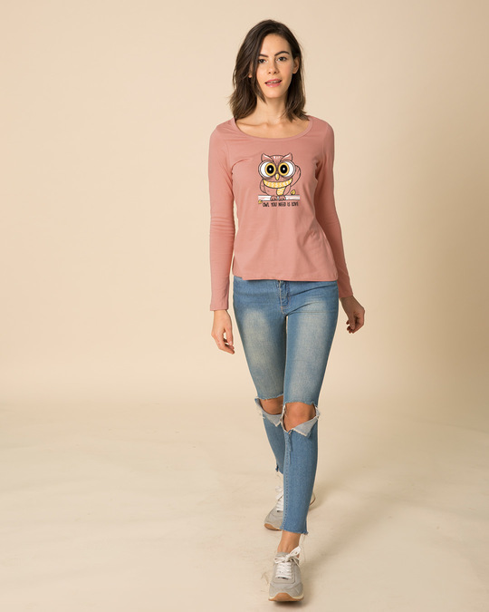 Shop Owl You Need Is Love Scoop Neck Full Sleeve T-Shirt-Full