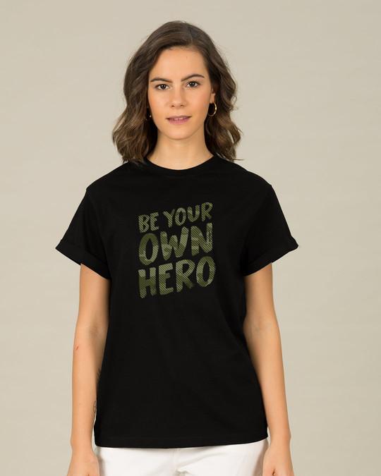 Shop Own Hero Camouflage Boyfriend T-Shirt-Front