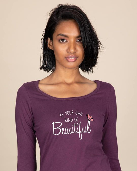 Shop Own Kind Of Beautiful Scoop Neck Full Sleeve T-Shirt-Front