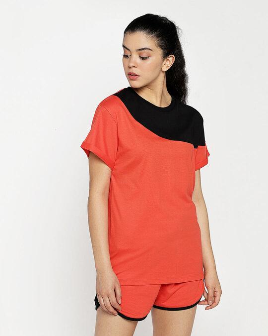 Shop Smoke Red 90's Vibe Asymmetric Three Panel Boyfriend T-Shirt-Design