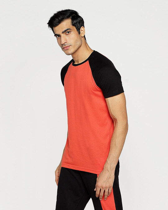 Shop Smoke Red Half Sleeve Raglan T-Shirt-Design