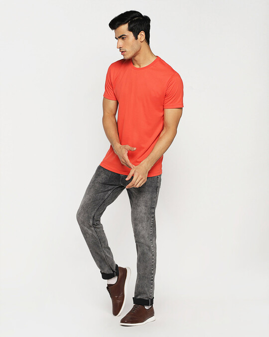 Shop Smoke Red Half Sleeve T-Shirt-Full