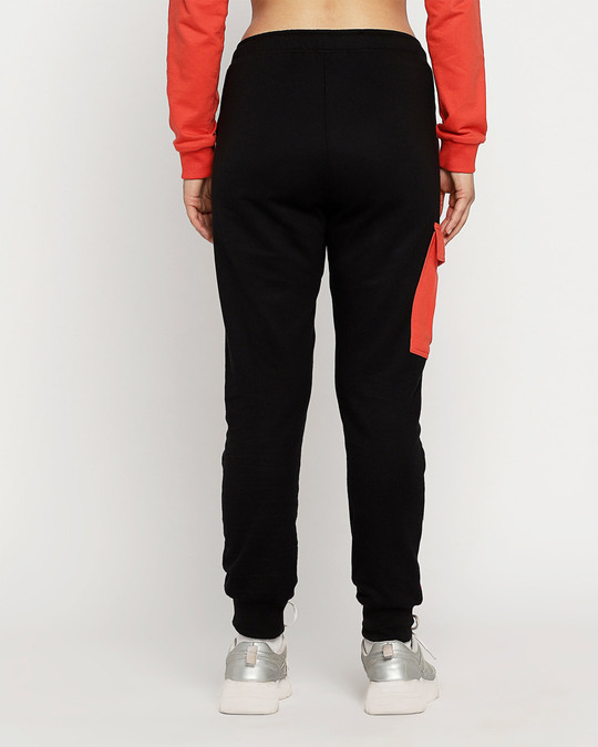 Shop Smoke Red High Waist Color Block Joggers-Full