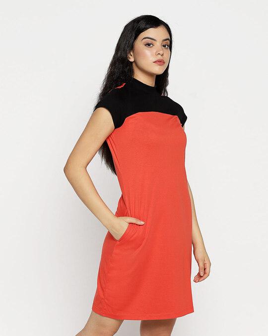 Shop Smoke Red New High Neck Pocket Dress-Design