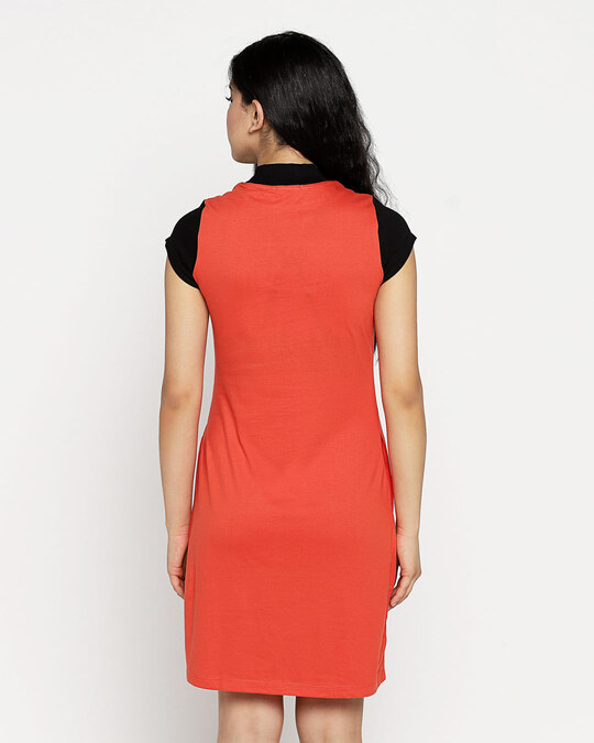 Shop Smoke Red New High Neck Pocket Dress-Full