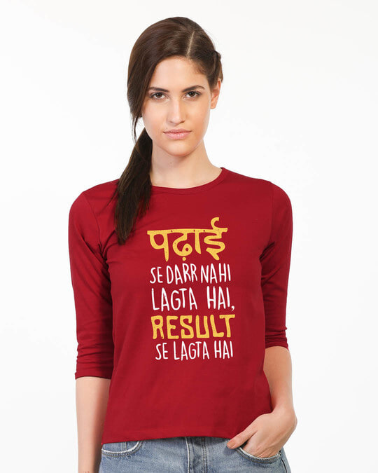 Shop Padhai Se Darr Round Neck 3/4th Sleeve T-Shirt-Front