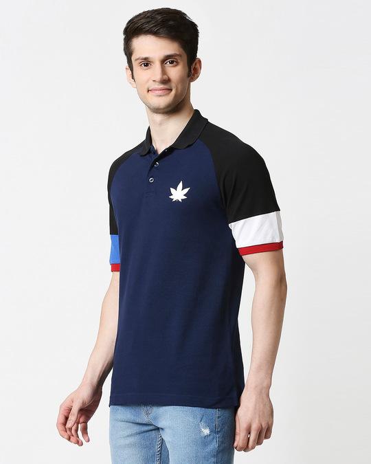 Shop Pageant Blue Half Sleeve Raglan Shoulder Cut & Sew Polo-Design