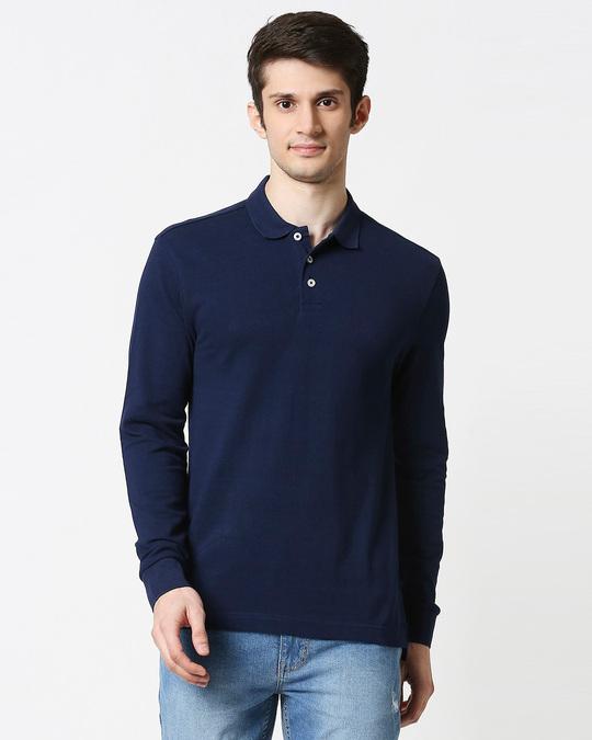 Shop Pageant Blue Full Sleeve Plain Pique Polo-Back