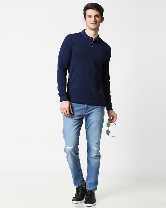 Shop Pageant Blue Full Sleeve Plain Pique Polo