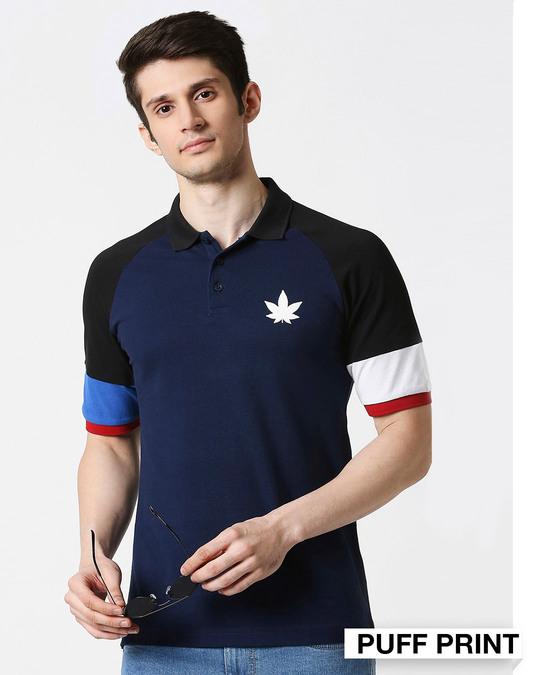 Shop Pageant Blue Half Sleeve Raglan Shoulder Cut & Sew Polo-Front