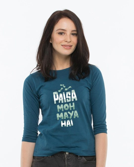 Shop Paisa Moh Maya Round Neck 3/4th Sleeve T-Shirt-Front