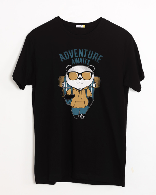 Shop Panda Adventure Half Sleeve T-Shirt-Front