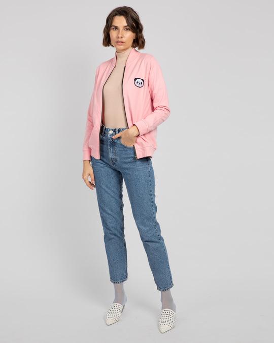 Shop Panda Badge Zipper Bomber Jacket-Full