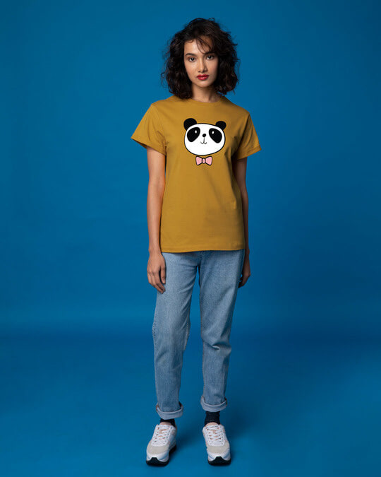 Shop Panda Bow Boyfriend T-Shirt-Full