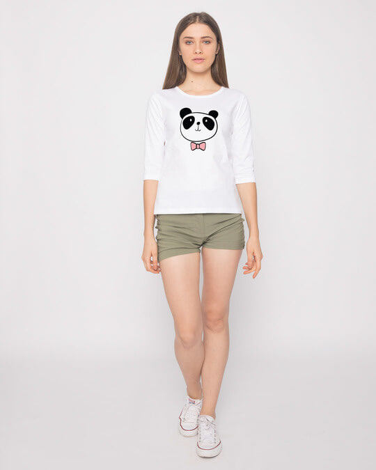 Shop Panda Bow Round Neck 3/4th Sleeve T-Shirt-Full