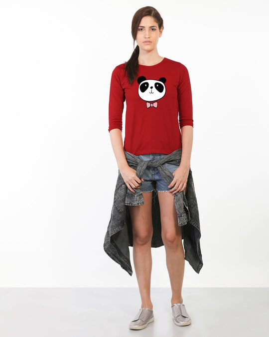 Shop Panda Bow Round Neck 3/4th Sleeve T-Shirt