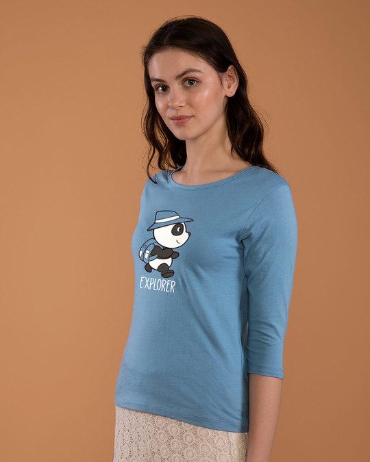 Shop Panda Explorer Round Neck 3/4th Sleeve T-Shirt-Back