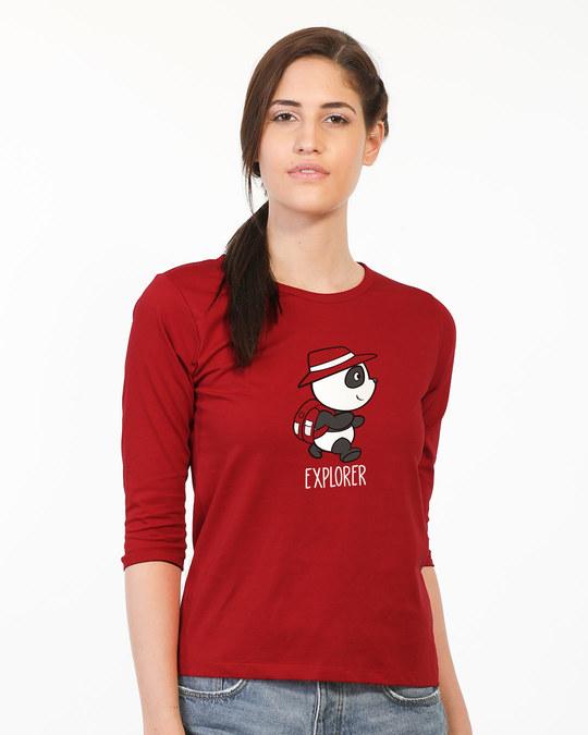 Shop Panda Explorer Round Neck 3/4th Sleeve T-Shirt-Front