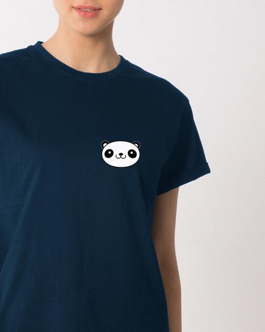 Shop Panda Face Pocket Boyfriend T-Shirt-Front