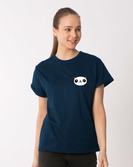 Shop Panda Face Pocket Boyfriend T-Shirt-Back