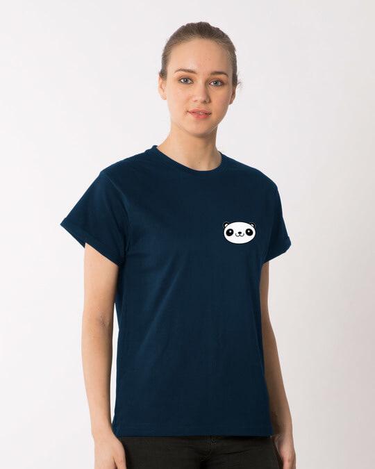 Shop Panda Face Pocket Boyfriend T-Shirt-Full