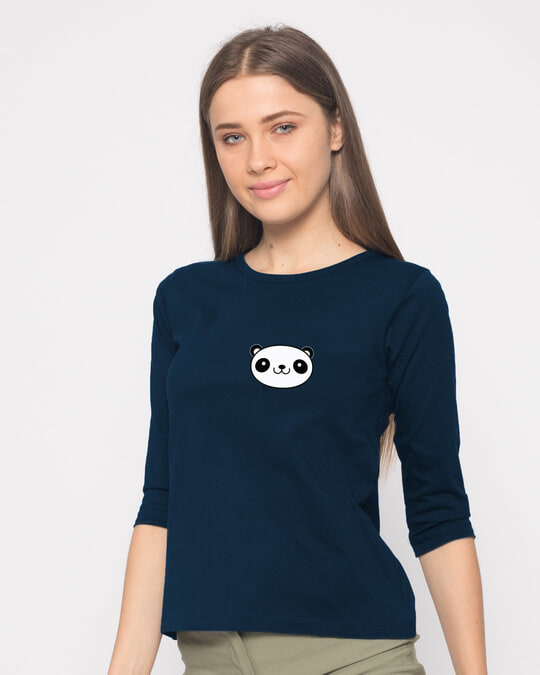 Shop Panda Face Pocket Round Neck 3/4th Sleeve T-Shirt-Design