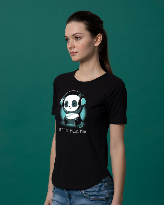 Shop Panda Headphones Basic Round Hem T-Shirt-Back