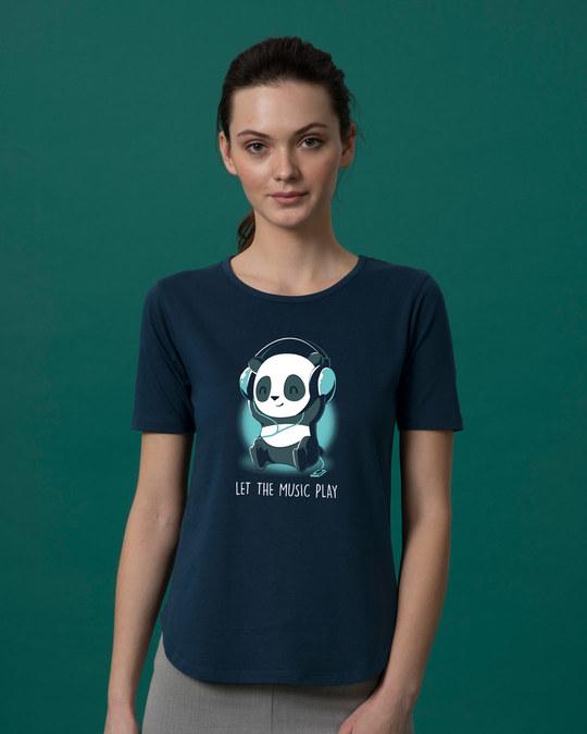 Shop Panda Headphones Basic Round Hem T-Shirt-Front
