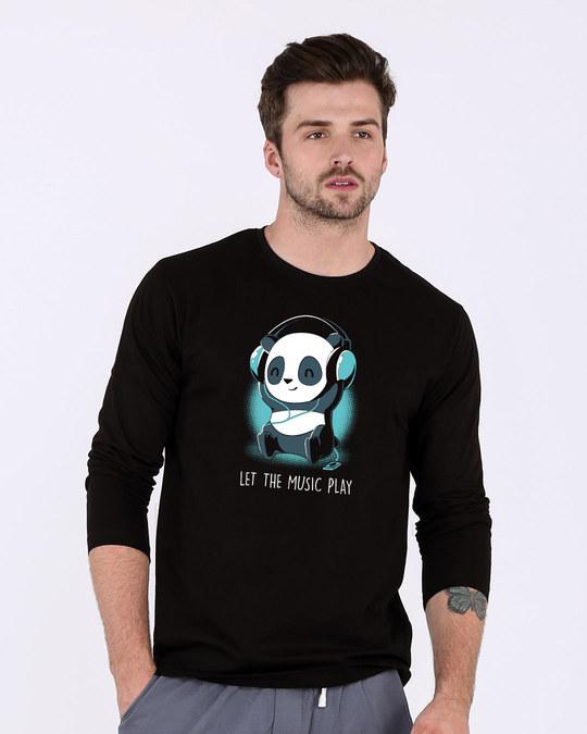 Shop Panda Headphones Full Sleeve T-Shirt-Front