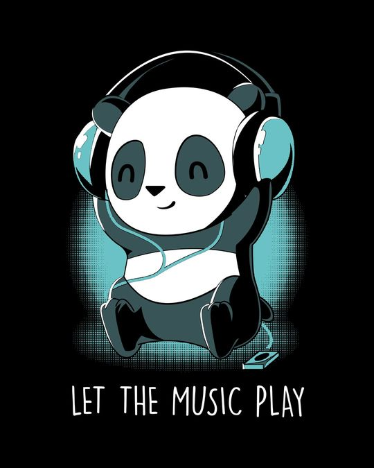 Shop Panda Headphones Round Neck 3/4th Sleeve T-Shirt