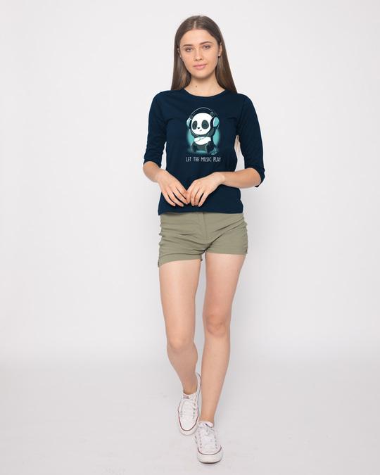 Shop Panda Headphones Round Neck 3/4th Sleeve T-Shirt