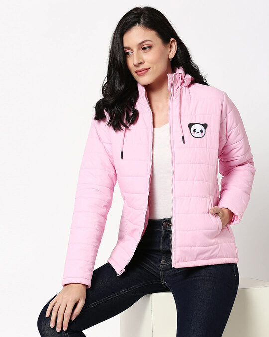 Shop Panda Logo Puffer Jacket with Detachable Hood-Front
