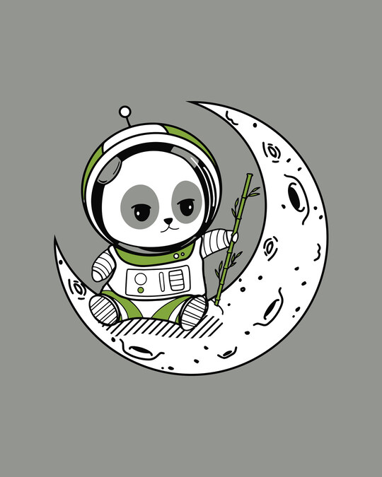 Shop Panda Moon Half Sleeve T-Shirt-Full