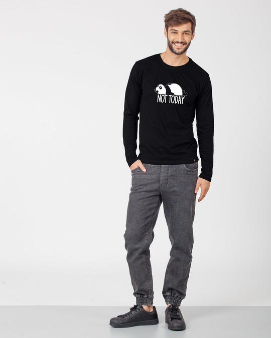 Shop Panda Not Today Full Sleeve T-Shirt-Full