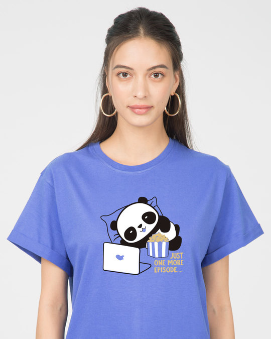 Shop Panda One More Episode Boyfriend T-Shirt-Front