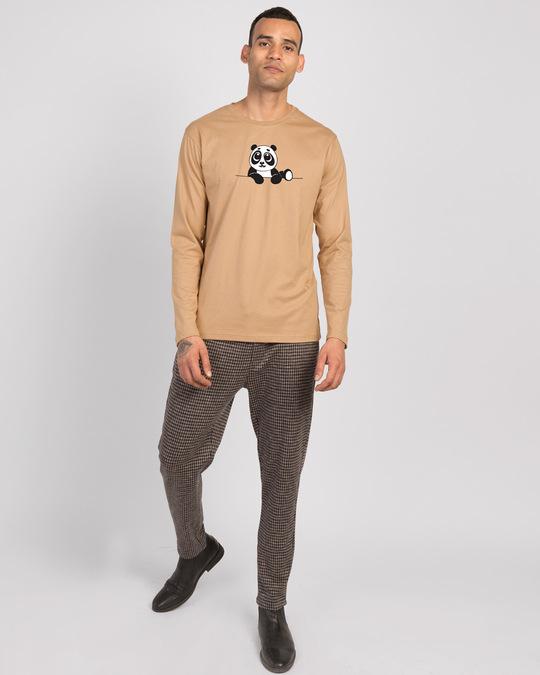 Shop Panda Peek Full Sleeve T-Shirt Dusty Beige-Full