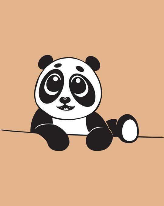 Shop Panda Peek Half Sleeve T-Shirt - Pastel  Beige