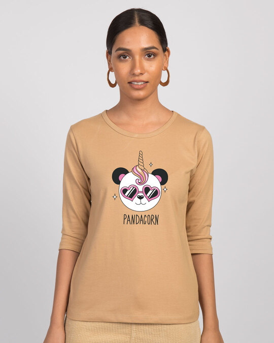 Shop Pandacorn Round Neck 3/4th Sleeve T-Shirt-Front