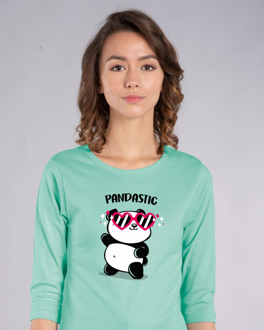 Shop Pandastic Round Neck 3/4th Sleeve T-Shirt-Front