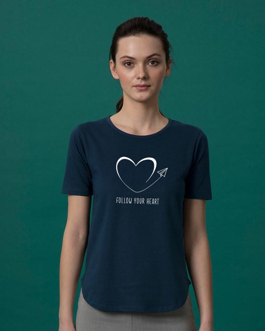 Shop Paper Plane Heart Basic Round Hem T-Shirt-Front