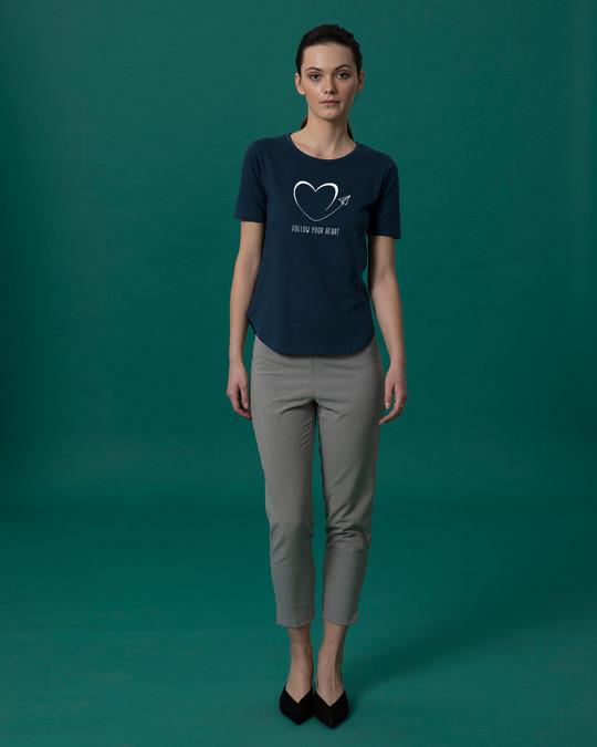 Shop Paper Plane Heart Basic Round Hem T-Shirt
