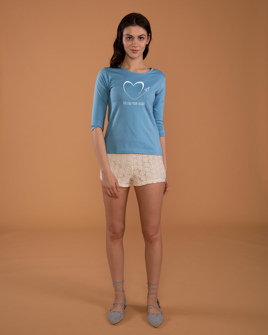 Shop Paper Plane Heart Round Neck 3/4th Sleeve T-Shirt