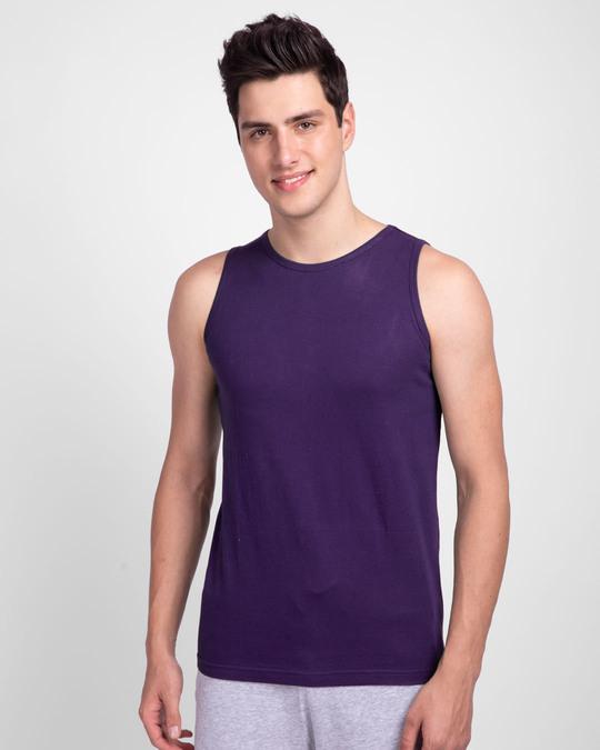 Shop Parachute Purple Round Neck Vest-Front