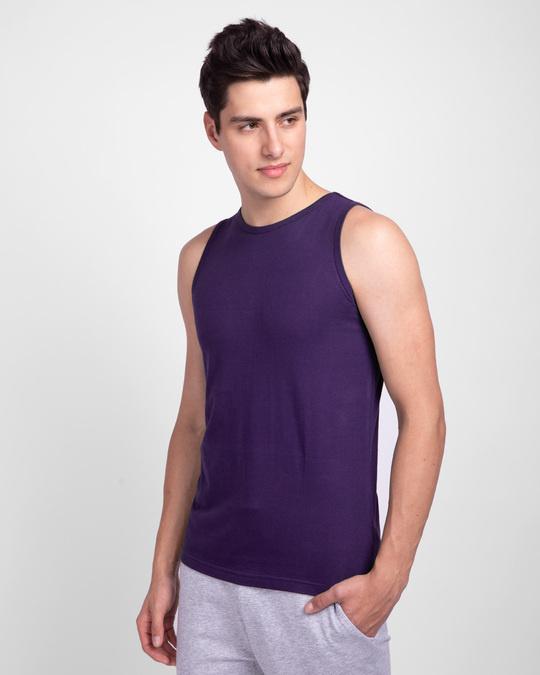 Shop Parachute Purple Round Neck Vest-Back