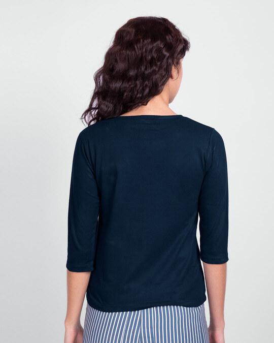 Shop Pari Hun Mai Round Neck 3/4th Sleeve T-Shirt Navy Blue-Back
