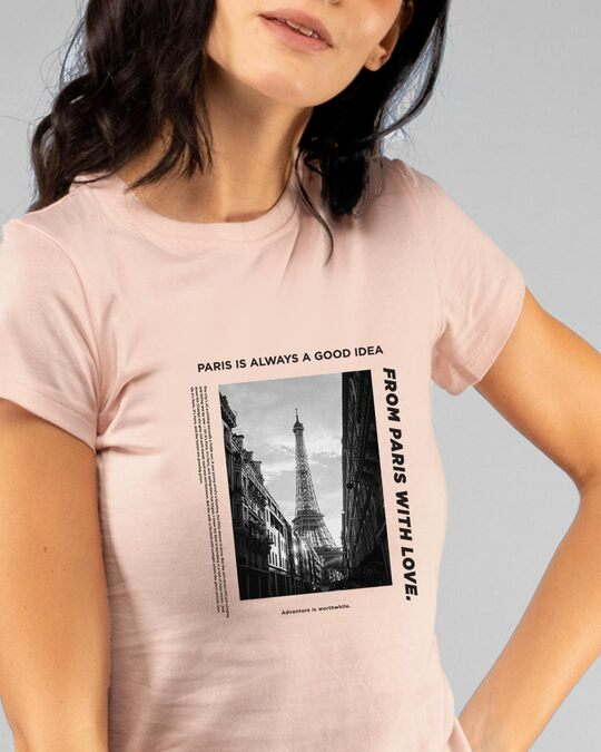 Shop Paris With Love Half Sleeve Printed T-Shirt Baby Pink-Front
