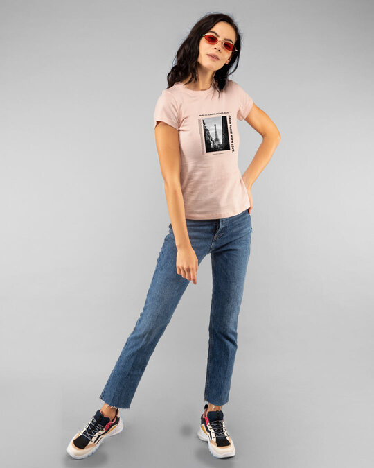 Shop Paris With Love Half Sleeve Printed T-Shirt Baby Pink-Full