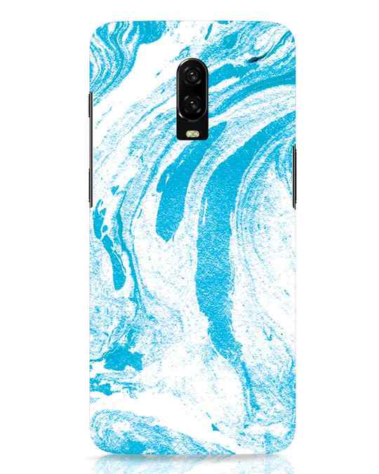 Shop Pastel Blue Marble OnePlus 6T Mobile Cover-Front