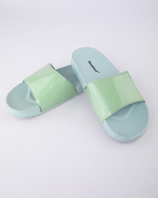 Shop Women Pastel Green Sliders-Front