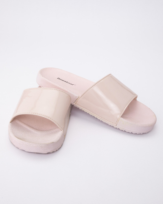 Shop Women Pastel Pink Sliders-Front